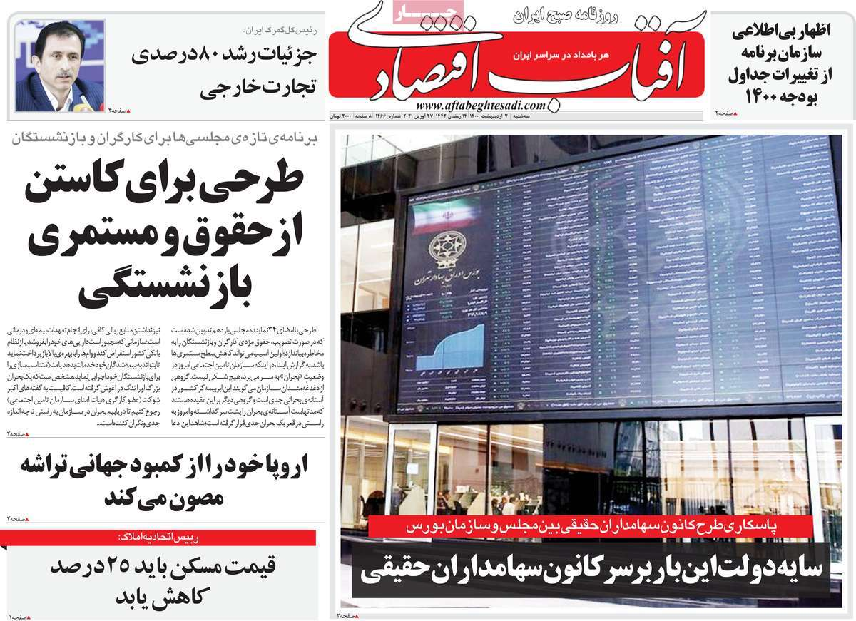 صفحه نخست روزنامه های اقتصادی